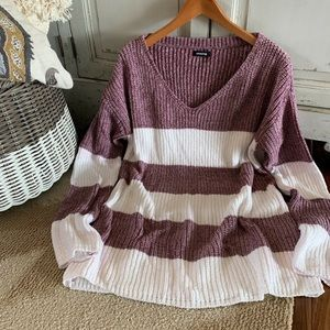 Plum & White Chenille Striped Tunic Sweater